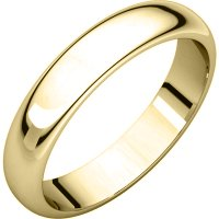Item # H116804E - 18K Yellow Gold 4mm Wide High Dome Plain Wedding Band