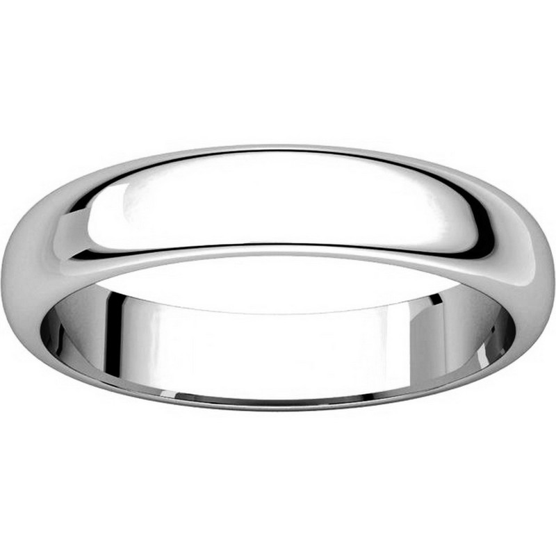 Item # H116804PP View 3 - Platinum Plain Wedding Band 4mm Wide High Dome