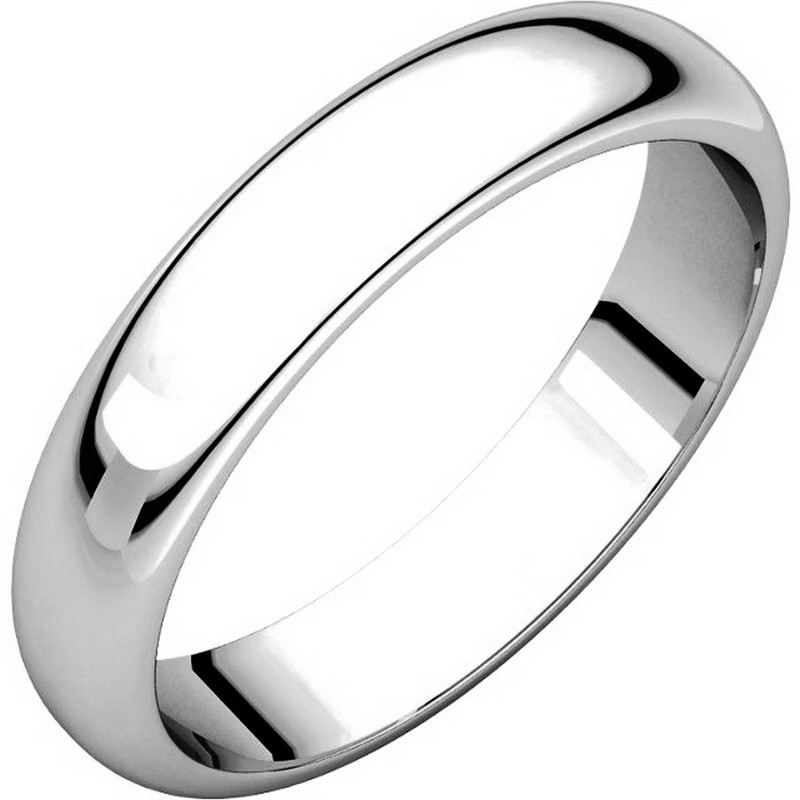 Item # H116804PP - Platinum, high dome, 4.0 mm wide, plain wedding band. The finish on the ring is polished. Other finishes may be selected or specified.