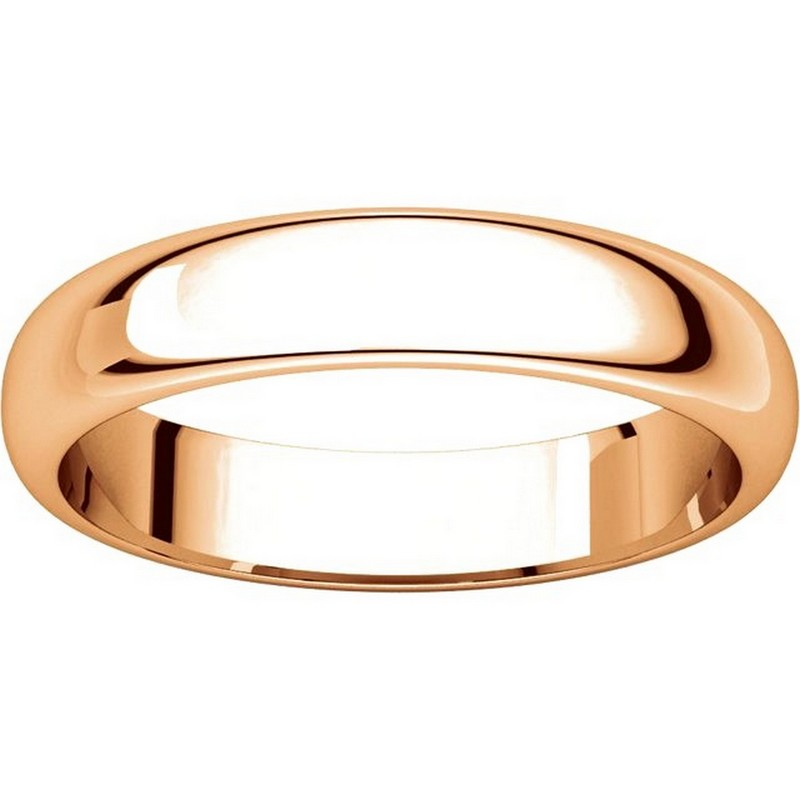 Item # H116804RE View 3 - 18K Rose Gold 4mm Wide High Dome Plain Wedding Band