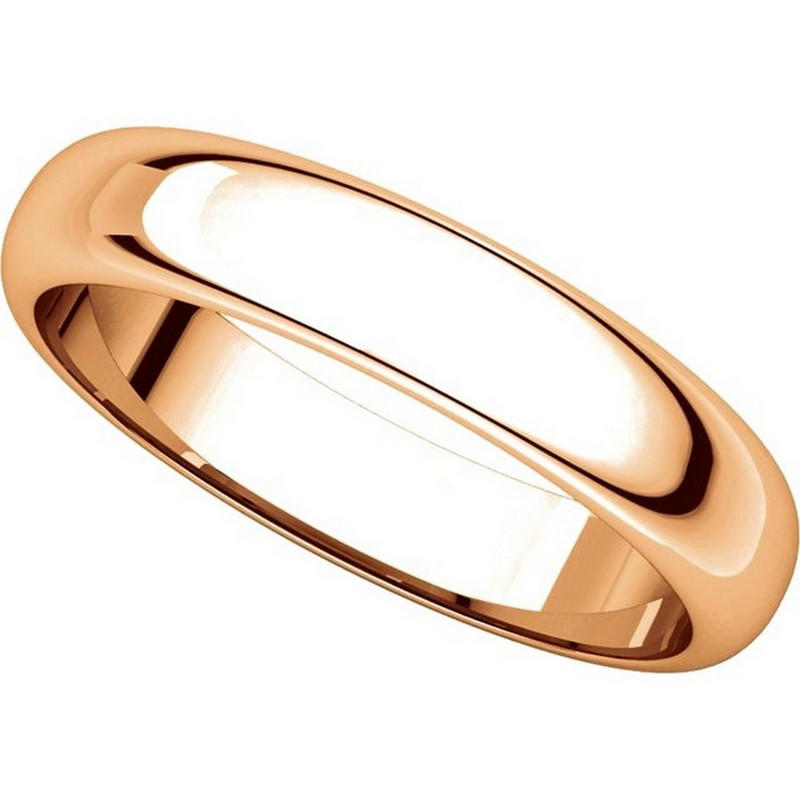 Item # H116804RE View 4 - 18K Rose Gold 4mm Wide High Dome Plain Wedding Band
