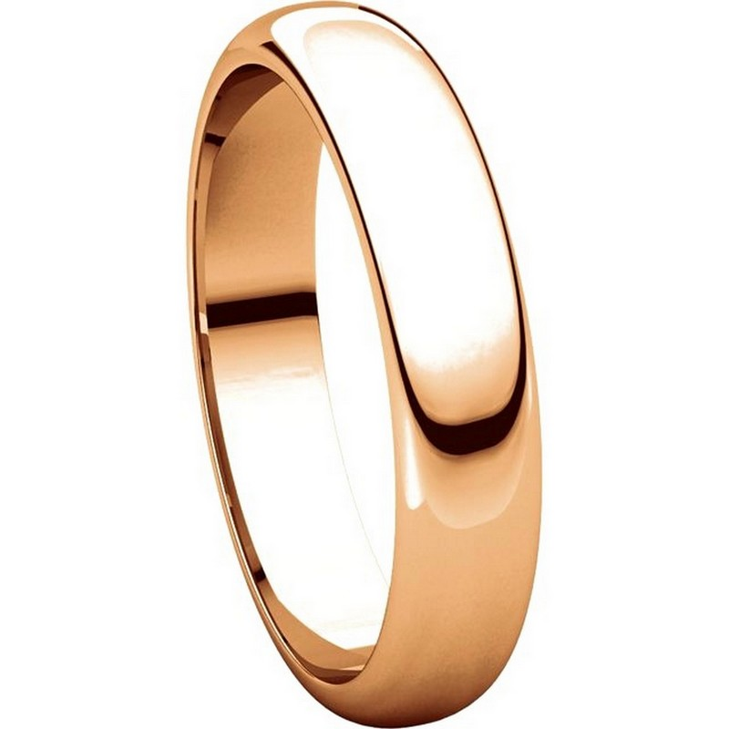 Item # H116804RE View 5 - 18K Rose Gold 4mm Wide High Dome Plain Wedding Band