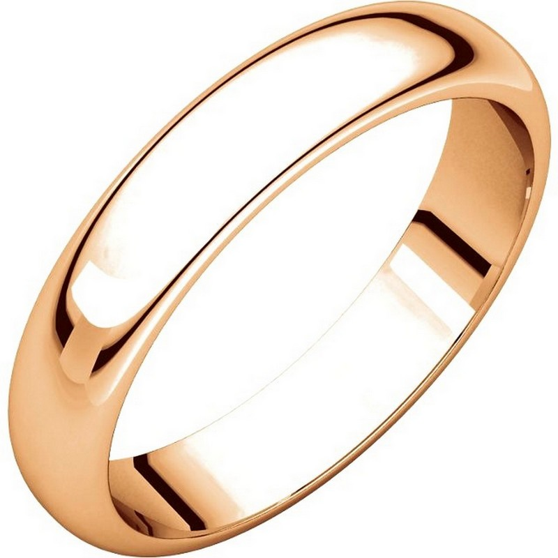 Item # H116804RE - 18 kt Rose, gold, high dome, 4.0 mm wide, plain wedding band. The finish on the ring is polished. Other finishes may be selected or specified.