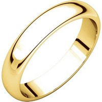 Item # H116804 - 14K Yellow Gold 4mm High Dome Plain Band