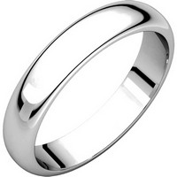 Item # H116804WE - 18K White Gold 4mm  Wide High Dome Plain Wedding Band