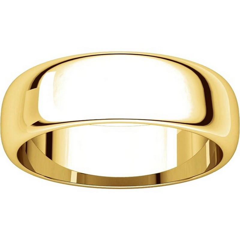 Item # H116826E View 3 - 18K Yellow Gold 6mm Wide High Dome Plain Wedding Band