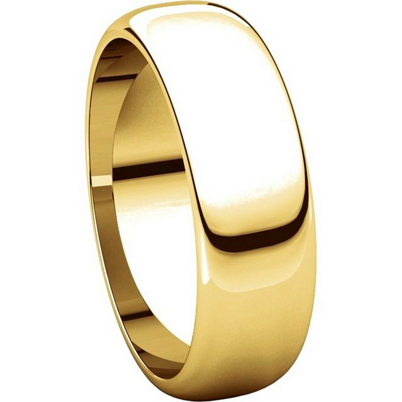 Item # H116826E View 5 - 18K Yellow Gold 6mm Wide High Dome Plain Wedding Band