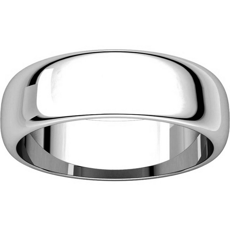 Item # H116826PP View 3 - Platinum 6mm High Dome Plain Wedding Ring
