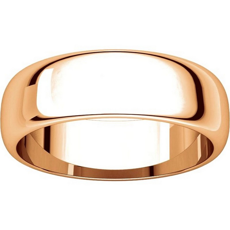 Item # H116826RE View 3 - 18K Rose Gold 6mm Wide High Dome Plain Wedding Band