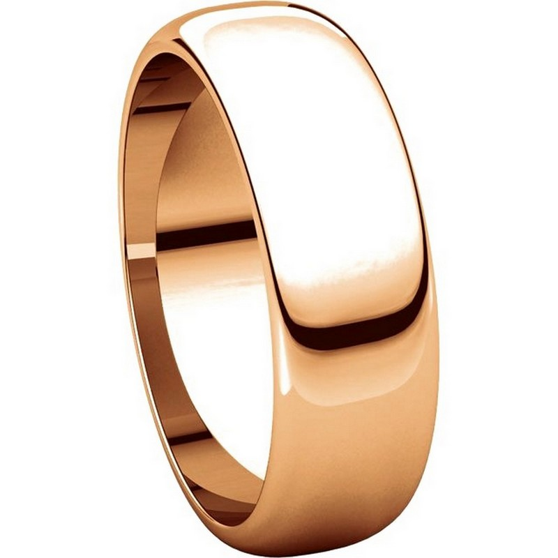 Item # H116826RE View 5 - 18K Rose Gold 6mm Wide High Dome Plain Wedding Band