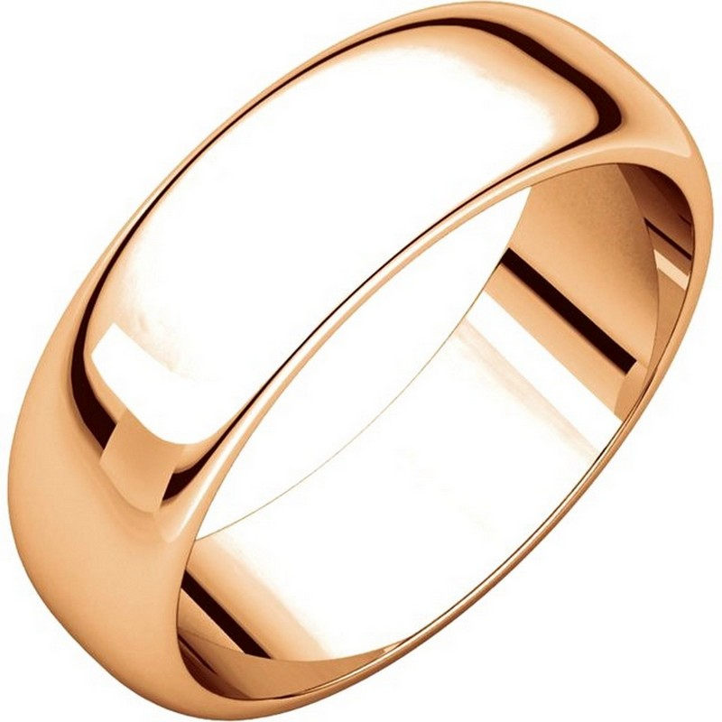 Item # H116826RE - 18 kt Rose, gold, high dome, 6.0 mm wide, plain wedding band. The finish on the ring is polished. Other finishes may be selected or specified.