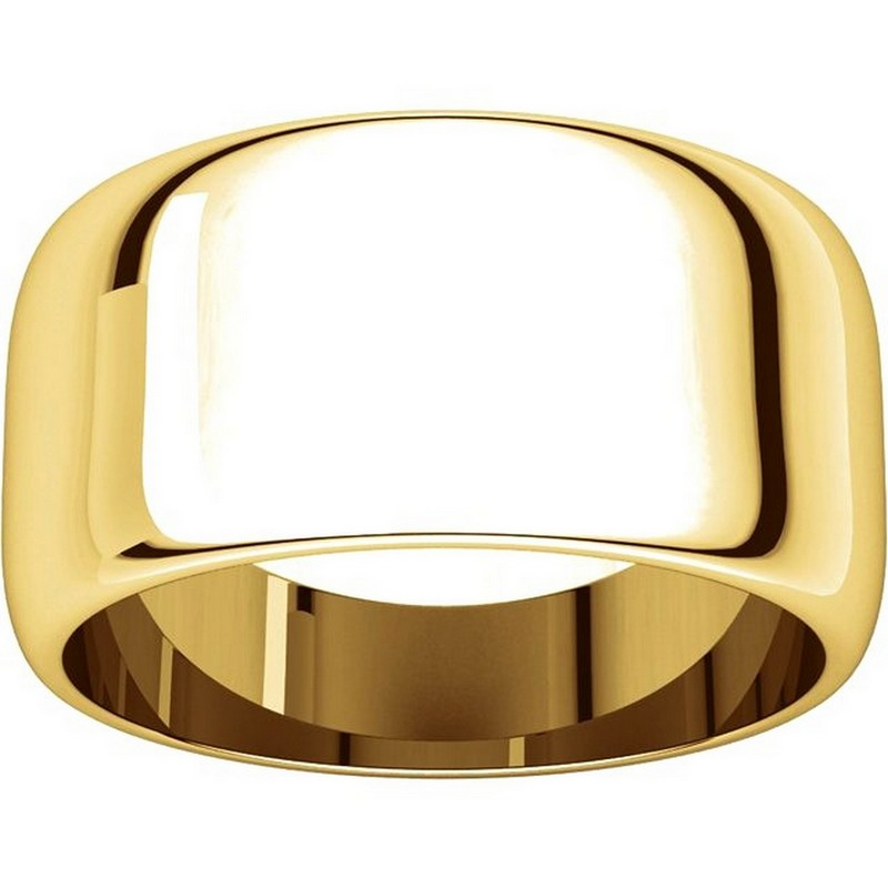 Item # H1168310 View 3 - 14K Plain Wedding Band Yellow Gold 10 mm  High Dome