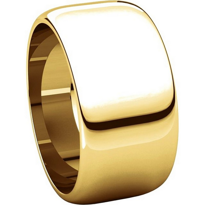 Item # H1168310 View 5 - 14K Plain Wedding Band Yellow Gold 10 mm  High Dome