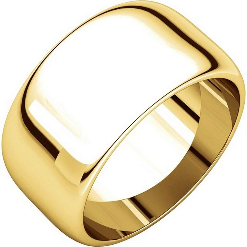 Item # H1168310E - 18kt yellow gold, high dome, 10.0 mm wide, plain wedding band. The finish on the ring is polished. Other finishes may be selected or specified.
