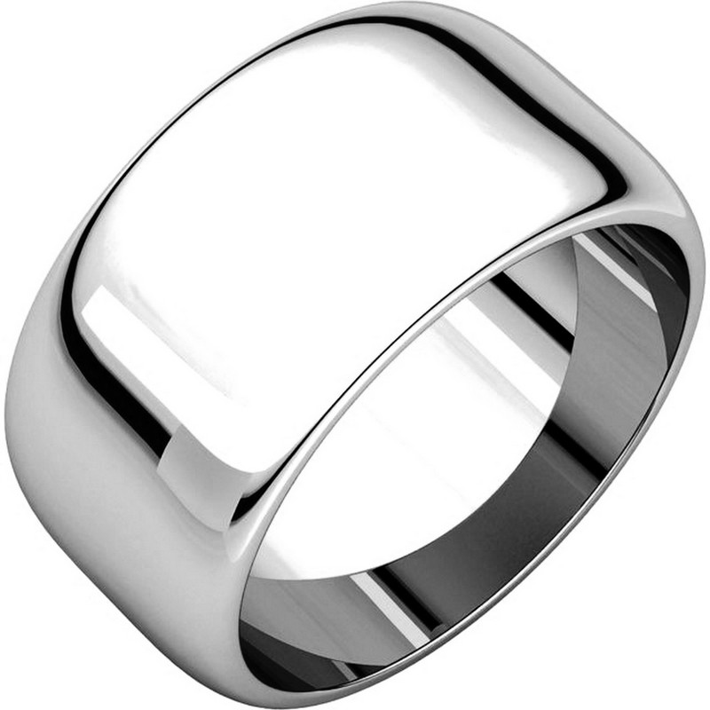 Item # H1168310W - 14 kt, white gold, high dome, 10.0 mm wide, plain wedding band. The finish on the ring is polished. Other finishes may be selected or specified.