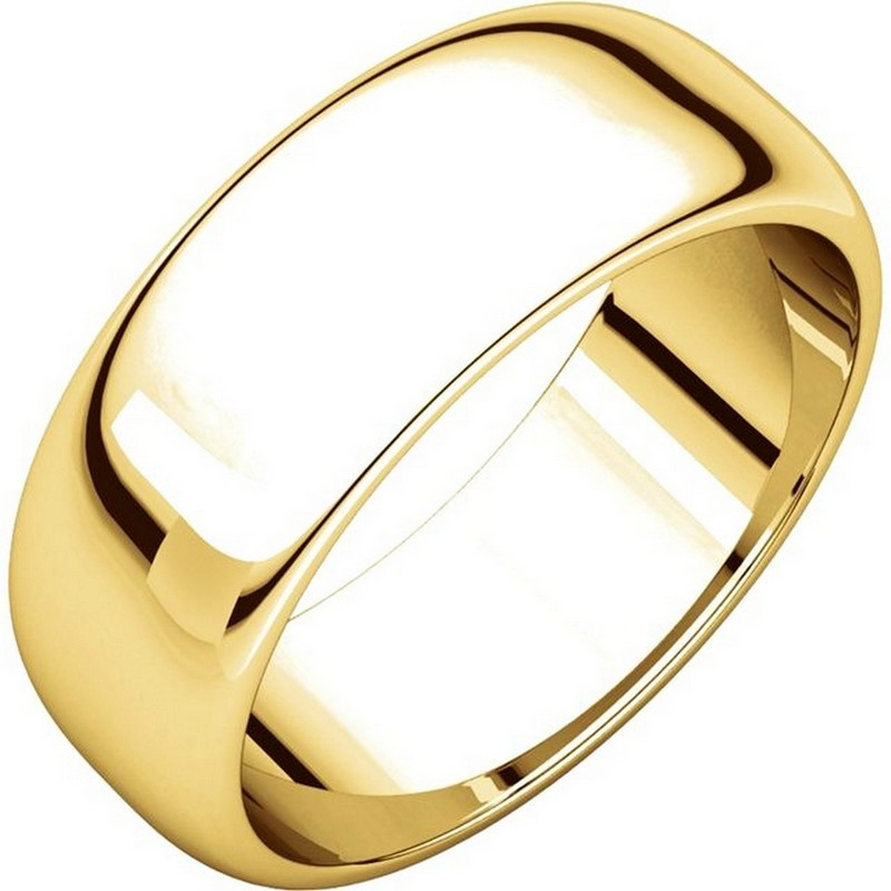 Item # H116837E - 18K yellow gold, high dome, 7.0 mm wide, plain wedding band. The finish on the ring is polished. Other finishes may be selected or specified.