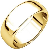 Item # H116837E - 18K Yellow Gold 7 mm Wide High Dome Plain Wedding Band