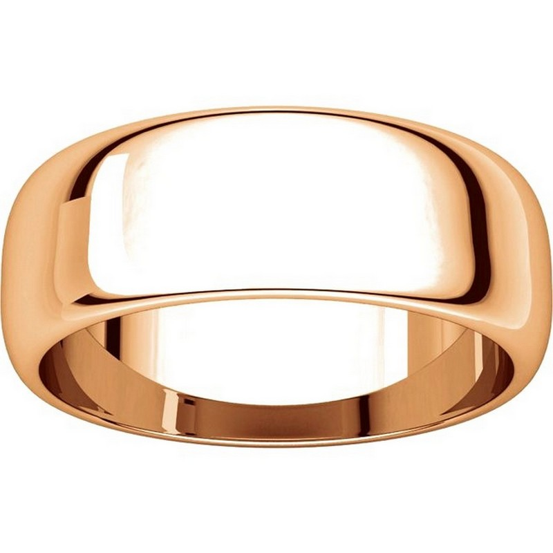 Item # H116837R View 3 - 14K Rose Gold Plain 7mm High Dome Wedding Band