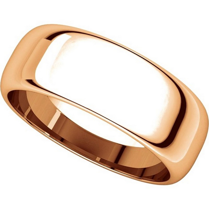 Item # H116837R View 4 - 14K Rose Gold Plain 7mm High Dome Wedding Band