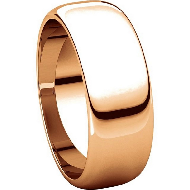 Item # H116837R View 5 - 14K Rose Gold Plain 7mm High Dome Wedding Band