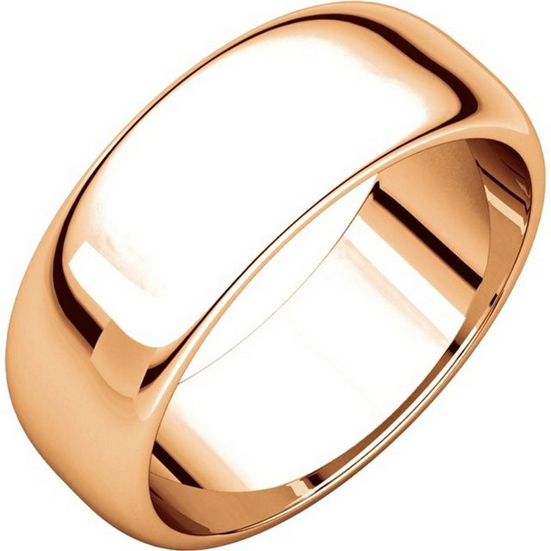 Item # H116837RE - 18 kt Rose gold, high dome, 7.0 mm wide, plain wedding band. The finish on the ring is polished. Other finishes may be selected or specified.
