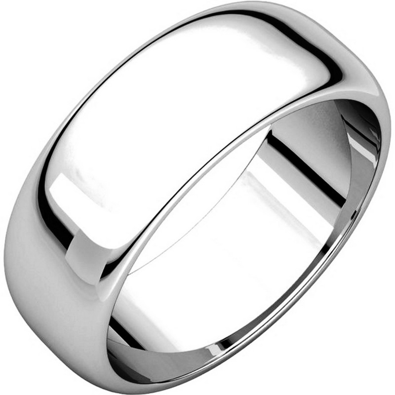 Item # H116837W - 14K white gold, high dome, 7.0 mm wide, plain wedding band. The finish on the ring is polished. Other finishes may be selected or specified.