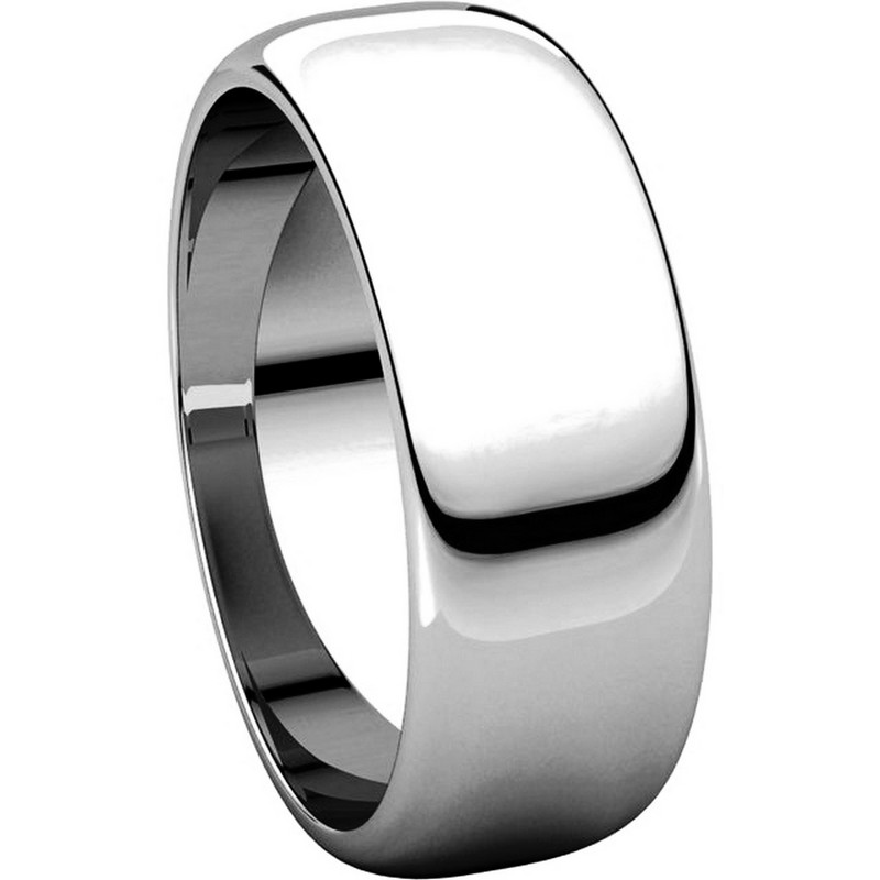 Item # H116837WE View 5 - 18K Plain Wedding Band White Gold 7 mm Wide High Dome