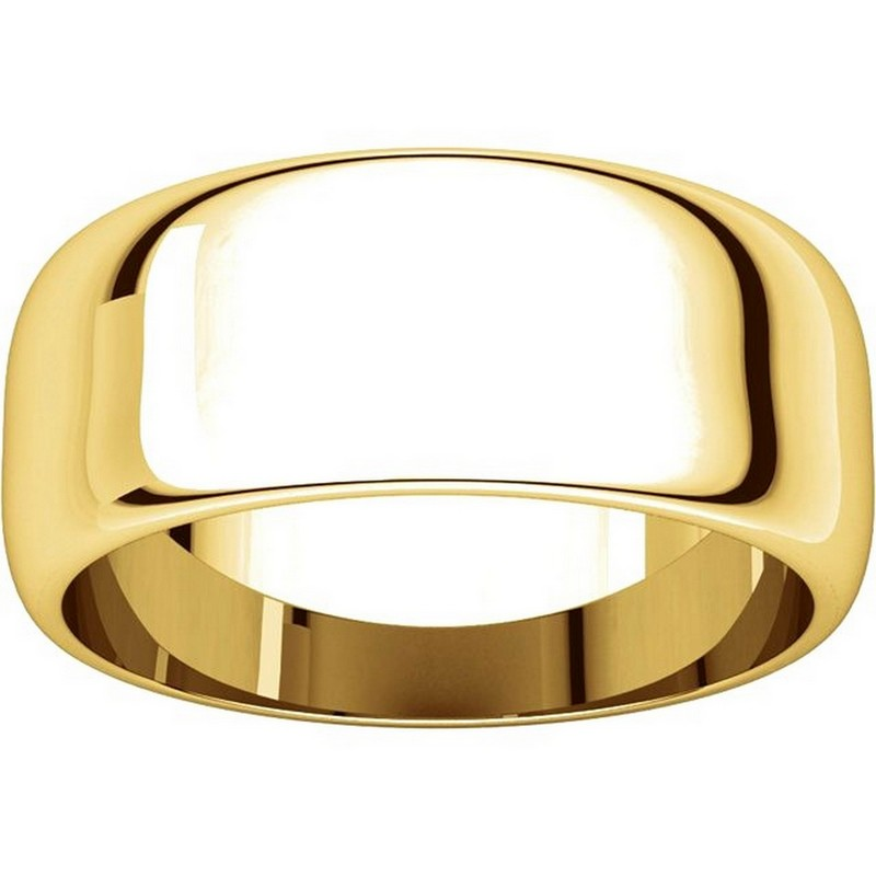 Item # H123838E View 3 - 18K Plain Wedding Band Yellow Gold 8 mm Wide High Dome