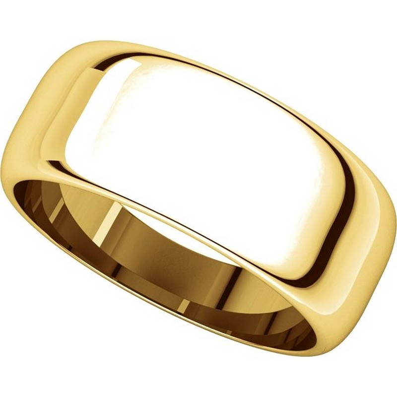 Item # H123838E View 4 - 18K Plain Wedding Band Yellow Gold 8 mm Wide High Dome
