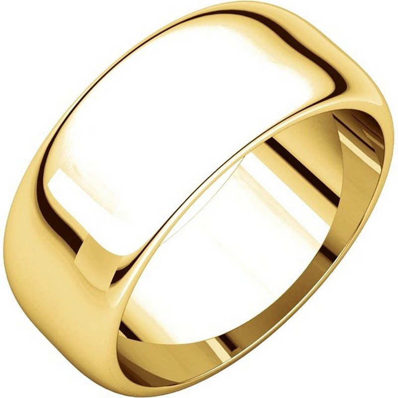 Item # H123838E - 18 K yellow gold, plain high dome, 8.0 mm wide wedding band. The finish on the wedding ring is polished. Other finishes may be selected or specified.