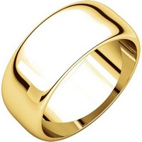 Item # H123838E - 18K Plain Wedding Band Yellow Gold 8 mm Wide High Dome
