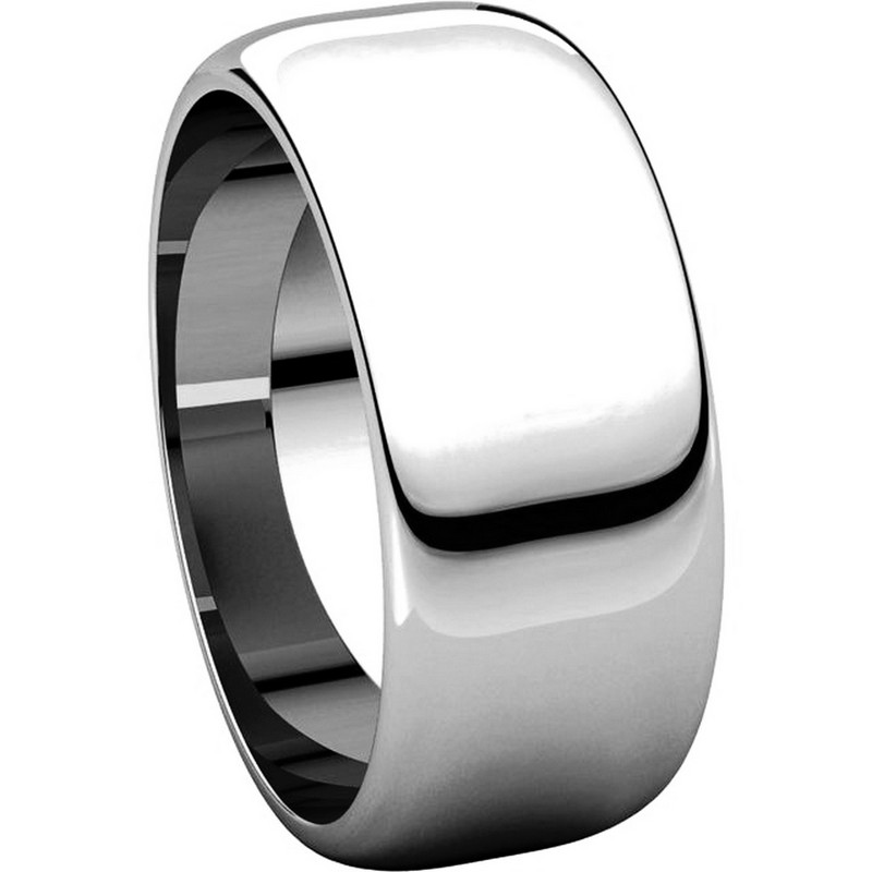 Item # H123838PP View 5 - Platinum 8 mm Wide High Dome Plain Wedding Band