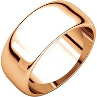 Item # H123838R - 14K Rose Plain Wedding Band Gold 8 mm Wide High Dome