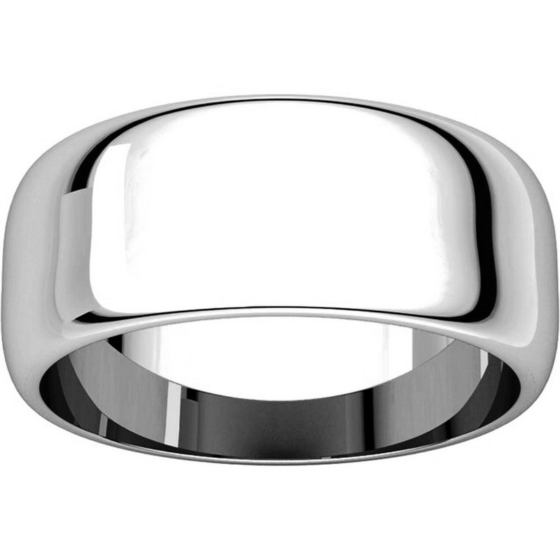 Item # H123838W View 3 - 14K White Gold 8mm Wide High DomePlain Wedding Band