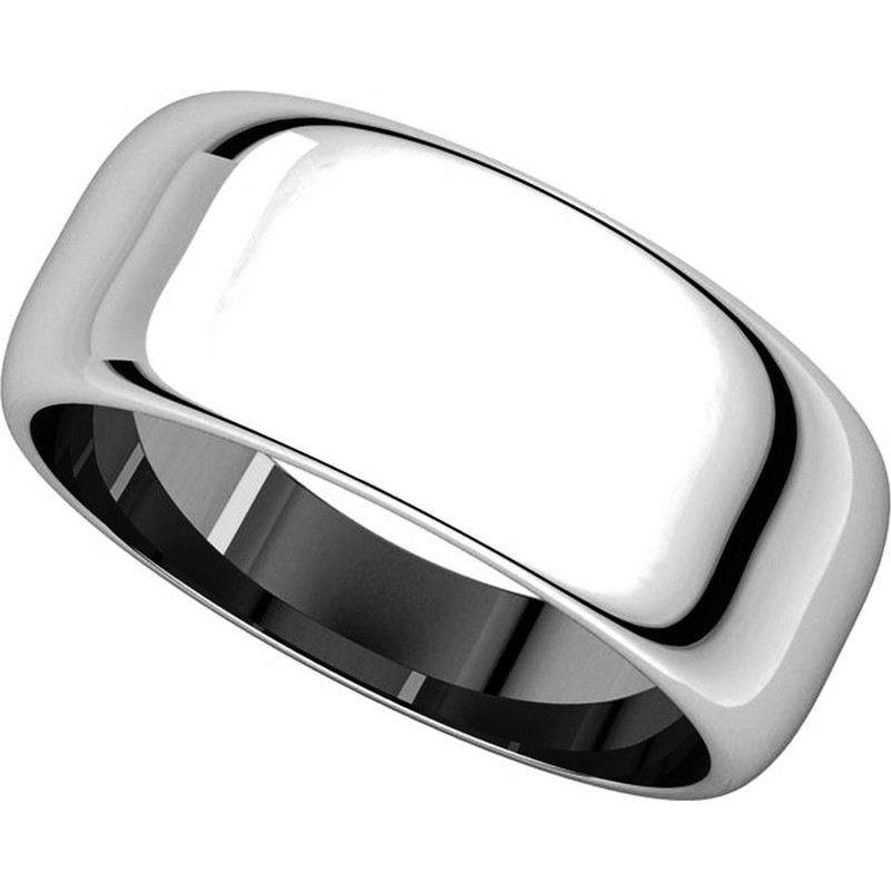Item # H123838W View 4 - 14K White Gold 8mm Wide High DomePlain Wedding Band