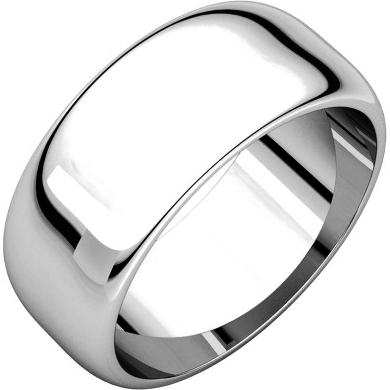 Item # H123838W - 14 K white gold, plain high dome, 8.0 mm wide wedding band. The finish on the wedding ring is polished. Other finishes may be selected or specified.