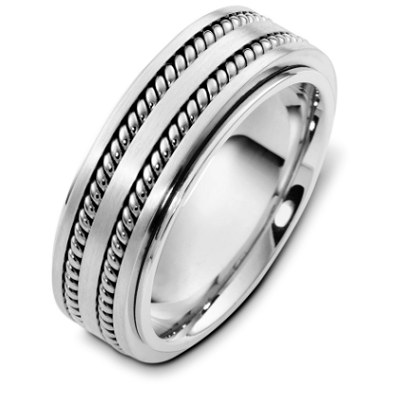 Item # H125571W - 14Kwhite gold, 8.0 mm wide, comfort fit, wedding band. The wedding band is approximately 2.5mm thick rotating center can be made not to spin. There are two hand made ropes inlayed in the center of the ring. The finish on the ring is polished. Other finishes may be selected or specified.