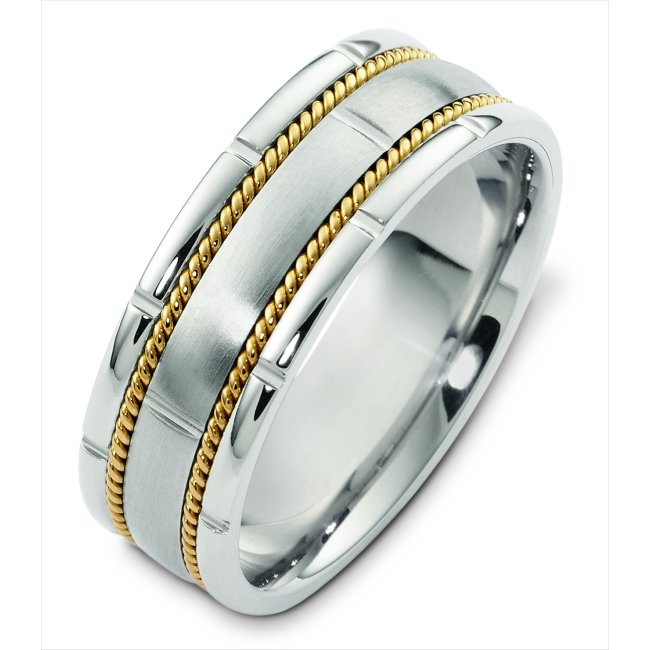 Item # H125731E - 18K white gold with yellow gold twisted wire, 7.5 mm wide, hand made, comfort fit wedding band. There are two hand made ropes in the band. The finish on the ring is matte. Other finishes may be selected or specified.