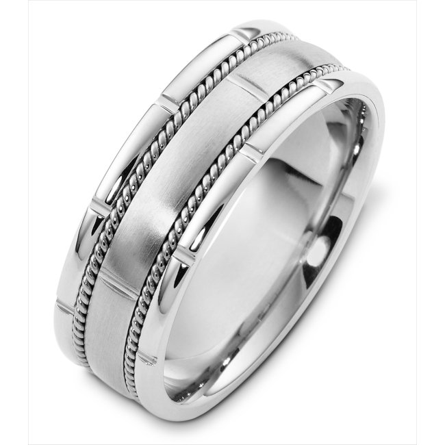 Item # H125731W - 14K white gold, 7.5 mm wide, comfort fit wedding band. There are two hand made ropes in the band. The finish on the ring is matte. Other finishes may be selected or specified.