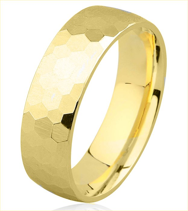 Item # H8336E - 18KT yellow gold hammered 7.0mm wide comfort fit wedding band. Different widths are available