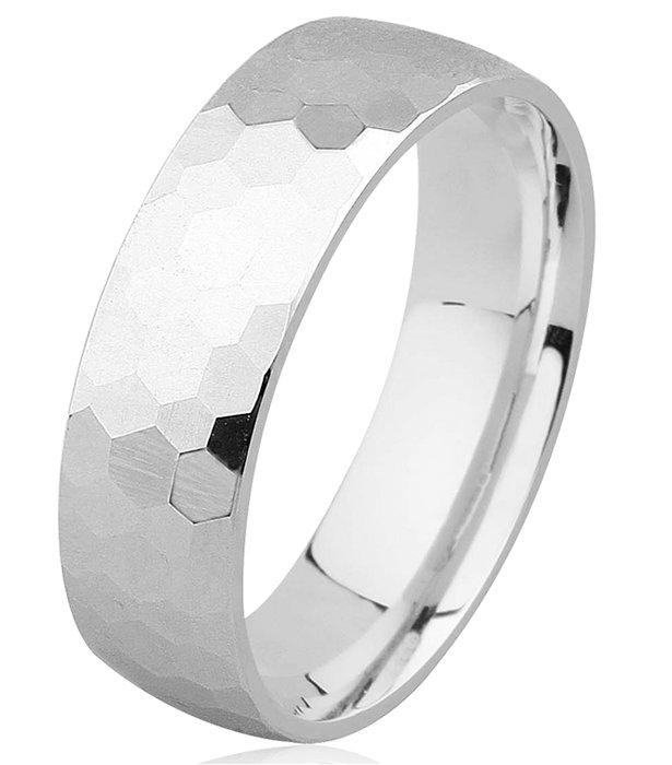 Item # H8336WE - 18KT white gold hammered 7.0mm wide comfort fit wedding band. Different widths are available