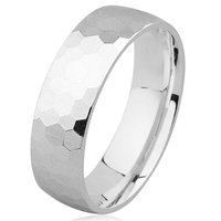 Item # H8336W - 14K Hammer Finished Wedding Band