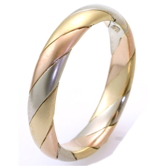 Item # M30036 - 14K tri-color gold, hand made, comfort fit, 4.0mm wide wedding band.