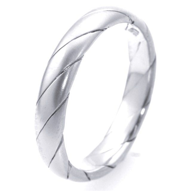 Item # M30036WE - 18K white  gold, hand made, comfort fit, 4.0mm wide wedding band