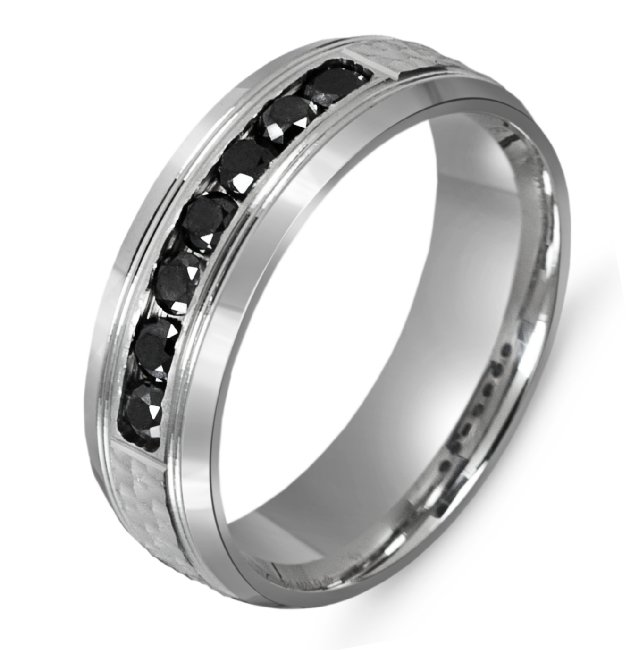 Item # M301007PP - Platinum, 7.0mm wide, comfort fit black diamond wedding band. The wedding band holds 7 diamonds with 0.49ct total weight.