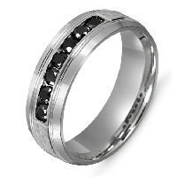 Item # M301007W - Black Diamond Wedding Band 14k White Gold