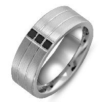 Item # M301008AG - Black Diamonds Silver 925 Wedding Band