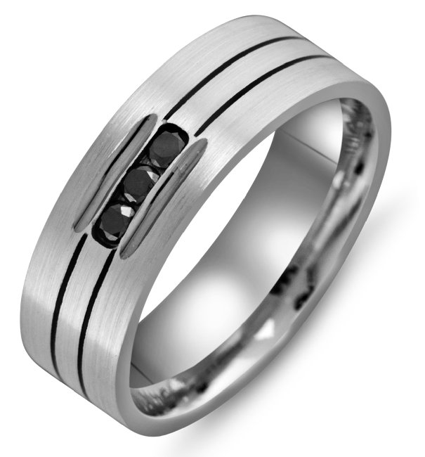 Item # M305397PP - Platinum, 7.0mm wide, comfort fit, black diamond wedding band. The wedding band holds 3 round black diamonds with 0.15ct total weight.