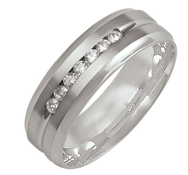 Item # M305997WE - 18K white gold, comfort fit, 7.0mm wide diamond wedding band. The wedding band holds 7 round brilliant cut diamonds with total weight of 0.25ct. The diamonds are graded as G-H in color, VS in clarity.
