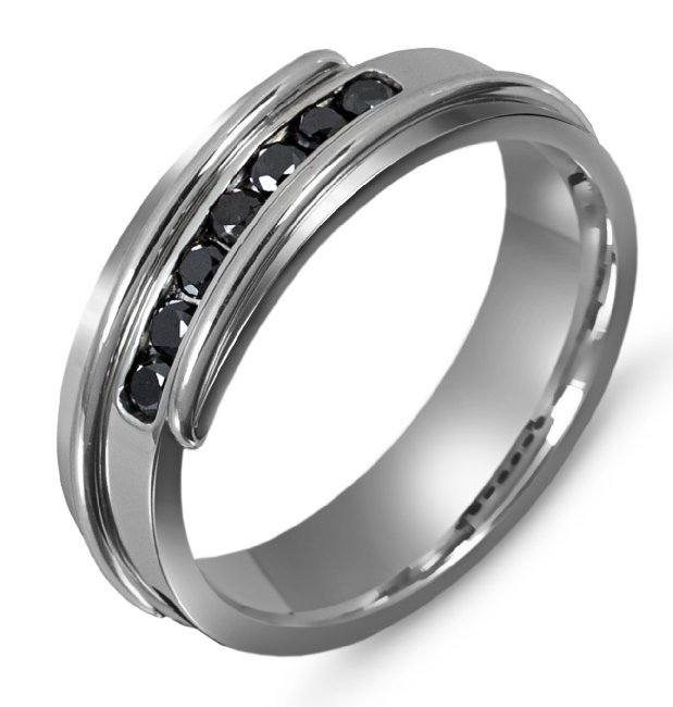 Item # M306327PP - Platinum, 7.0mm wide, comfort fit, black diamond wedding band. The wedding band holds 7 round black diamonds with 0.35ct total weight.